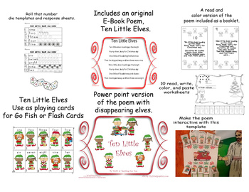 10 Little Elves Literacy and Math Center  Christmas Book