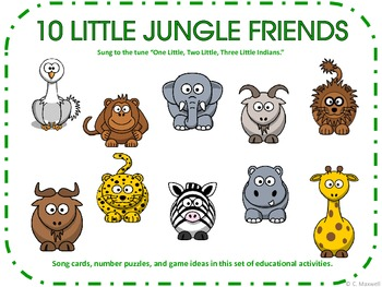 10 Little Jungle Friends Songs, Number Flashcards and 10 Puppets