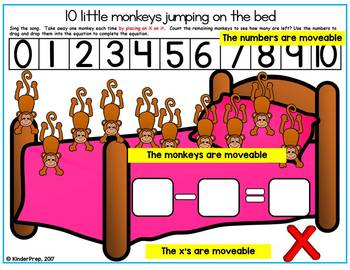 10 Little Monkeys Jumping on the bed- Math interactive subtraction powerpoint