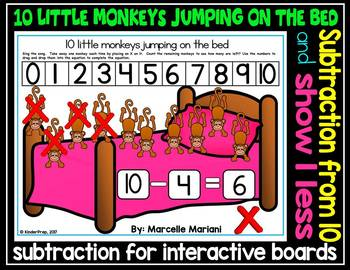 10 Little Monkeys Jumping on the bed- Math interactive sub
