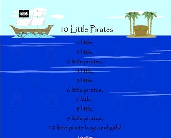 10 Little Pirates Poem / Shared Reading Interactive SMARTBoard File