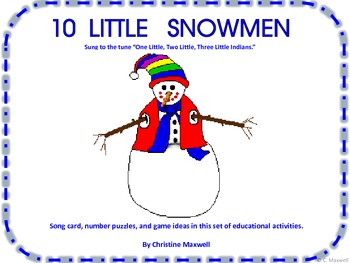 10 Little Snowmen    Song and Number/Number Word Flashcards
