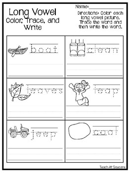 10 Long Vowel Practice Woksheets. Kindergarten-2nd Grade ELA. Phonics Workshe
