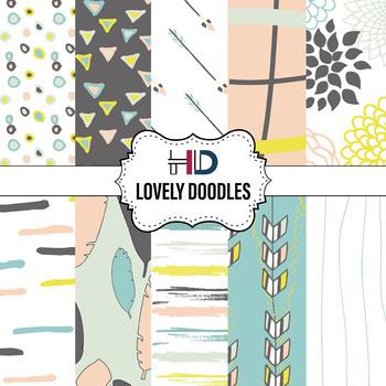 10 Lovely Doodles Digital Background Papers