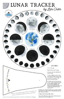 "Lunar Tracker With Moon Phases 8"" AND 10"", Hebrew Months, Jewish Calendar"