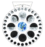 """Lunar Tracker With Moon Phases 8"""" AND 10"""", Hebrew Months,"""