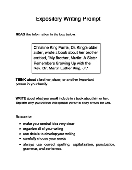 10 MLK-Themed Expository Writing Prompts (STAAR/TEKS) 3rd 4th 5th Grades