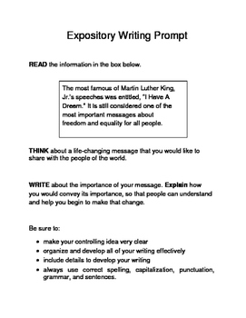 10 MLK-Themed Expository Writing Prompts (STAAR/TEKS) 6th 7th Grades