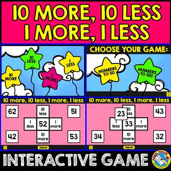 10 MORE 10 LESS 1 MORE 1 LESS INTERACTIVE GAME (MASTERING