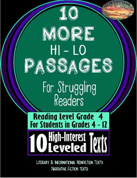 Hi - Lo 10 MORE Articles for Struggling Readers 4th - 12th Grades