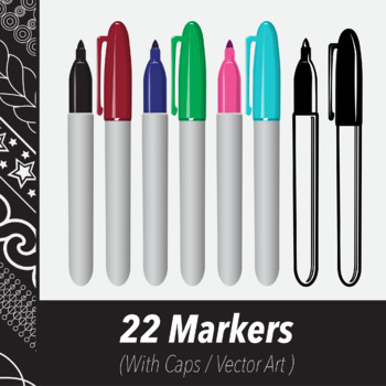 22 Markers (Vector Art) Various Colors & Line Art Variations
