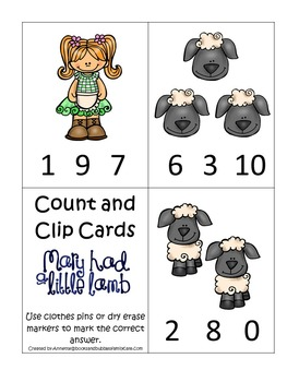 10 Mary Had a Little Lamb themed preschool games and worksheets bundle.