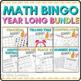 10 Math BINGO games:  time, place value, fractions, addition, subtraction, money