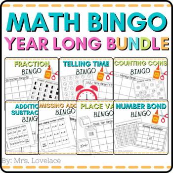 10 Math BINGO games:  time, place value, fractions, additi