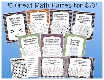 10 Math Games for $10 Bundle