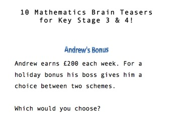 10 Mathematical Brain Teasers! Key Stage 3 & 4