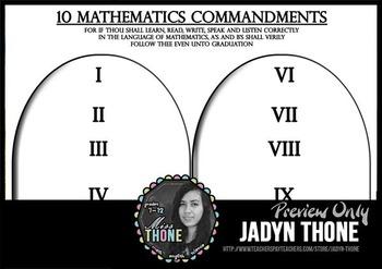 10 Mathematics Commandments