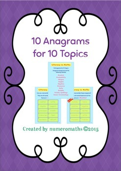 10 Maths Anagrams for 10 Maths Topics