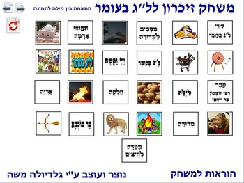 10 Memory Game for Lag Ba-omer word to photo Hebrew