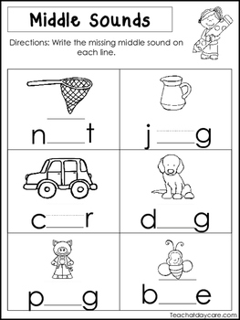 10 Middle Sounds Worksheets. Preschool and Kindergarten Literacy Worksheets.