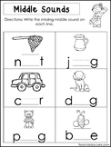 10 Middle Sounds Worksheets. Preschool and Kindergarten Li