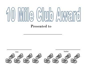 10 Mile Club Certificate