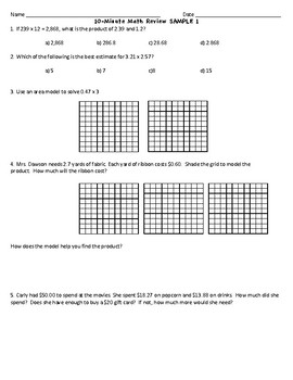 10 Minute Math Review Sample and Answer Key - FREE