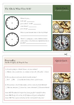 10 Minutes Quick Cards: Time & Punctuality