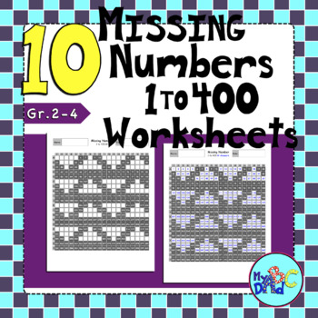 10 Missing Numbers 400s Chart Worksheets