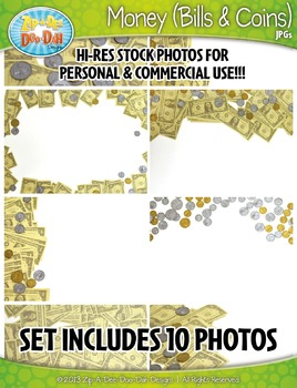 10 Money (Bills & Coins) Stock Photos Pack — Includes Comm