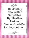 10 Month Editable Newsletter Templates