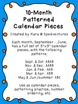 10-Month (Sept.-June) Set of Patterned Calendar Pieces