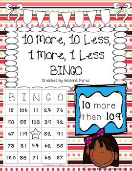 10 More, 10 Less, 1 More, 1 Less BINGO