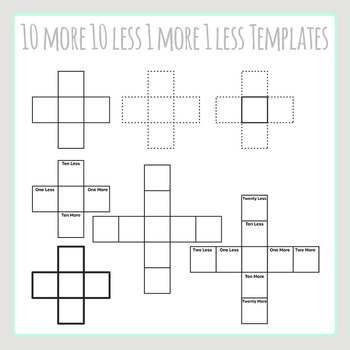 10 More 10 Less 1 More 1 Less Cross Shaped Blank Templates Clip Art