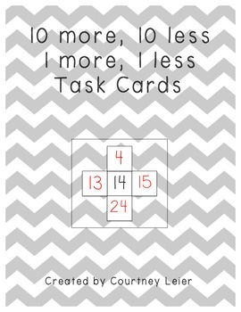 10 More, 10 Less, 1 More, 1 Less Math Task Cards