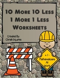 10 More 10 Less 1 More 1 Less Worksheets