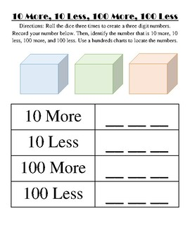 10 More, 10 Less, 100 More, 100 Less