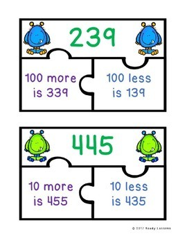 100 More 100 Less and 10 More 10 Less Game Puzzles with 3 Digit Numbers 2.NBT.8