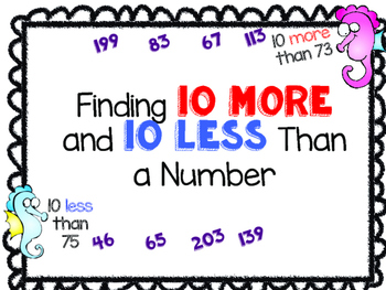 Place Value: 10 More 10 Less Center