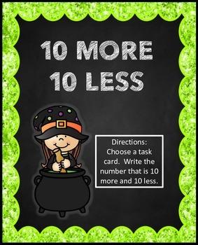 Halloween 10 More 10 Less Math Center