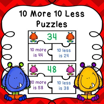 10 More 10 Less Game Puzzles for Ten More Ten Less Center