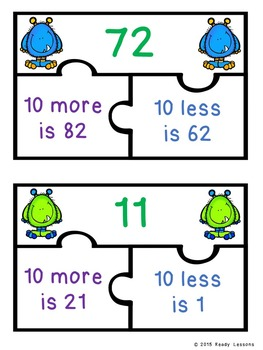 10 More 10 Less Game Puzzles for a Ten More Ten Less Center Activity 1.NBT.5
