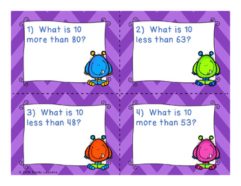10 More 10 Less Task Cards - Adding and Subtracting by 10 - 1.NBT.5