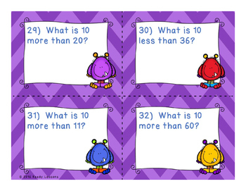 10 More 10 Less Task Cards - Adding and Subtracting 10 within 100 - 1.NBT.5