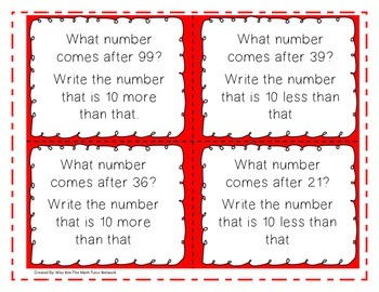 10 More, 10 Less, After, Before, and Between Task Cards-1st and 2nd Grade