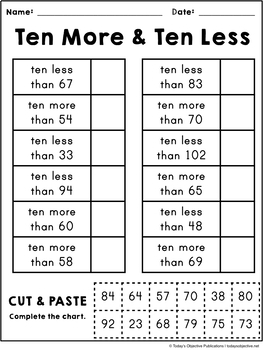 10 More 10 Less (First Grade Cut and Paste Practice)