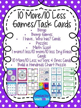 10 More/10 Less Games & Task Cards