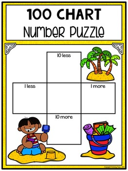 10 More 10 Less Hundred Chart Puzzles: Beach Fun