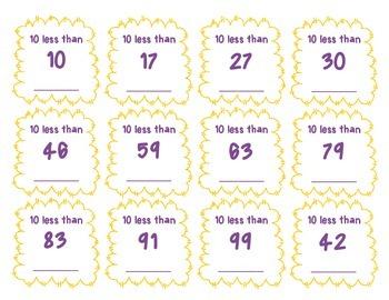 10 More 10 Less - Math Center