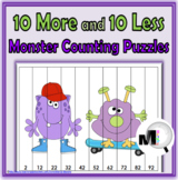 10 More 10 Less Number Puzzles Monster Theme